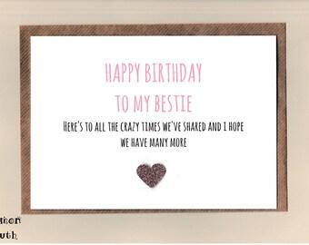 Funny BESTIE Birthday Card/  Best Friend / Love / Friends /Humour / Crazy Times / Banter  / Greetingcards  - Bestie (P)