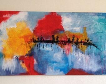 abstraktes Bild, Panorama, abstract painting, modern art, Abstrakte Kunst, Acrylbild, bunt