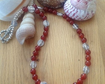 Carnelian necklace red necklace semi precious necklace gemstone necklace