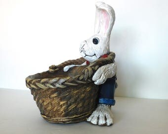 Patriotic Rabbit, Holding Basket, Big Feet, Plaster, Hand Painted, Easter Bunny, Easter Rabbit, Basket, White Rabbit, Suspenders, Jeans
