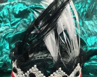 Cruella Deville Inspired Lace - 101 Dalmations, Disney Villian Crown, photo prop, Disney Princess crown, cake topper, birthday