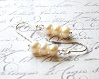White Freshwater Button Pearl Earrings - Sterling Silver Earrings - Drop Earrings - Modern Earrings