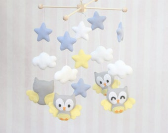 Baby Mobile Owls and Star Mobile Nursery Decor Owls and Clouds