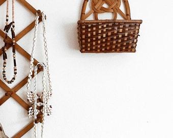 Vintage Wicker Wall Basket // Plant basket