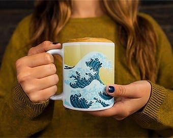 Cool Waves Mug Japanese Waves Coffee Mug Waves Art | Wonderluster | Travel | Outdoor | Witty Novelty