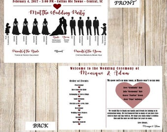 Silhouette Wedding Program, Front And Back