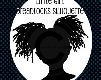 Little Girl With Dreadlocks Silhouette | African Girl Hairstyle | African American Silhouettes | Little Girls Silhouettes | Cute Silhouettes