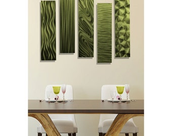 SALE! Modern Metal Wall Art in Green, Abstract Wall Decor Accent, Set of 5, Contemporary Wall Sculpture - 5 Easy Pieces Green by Jon Allen