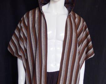 Striped Silk Kimono with Batik Lined Hood, Caftan, Menswear, Robe, Festival Clothing, OOAK