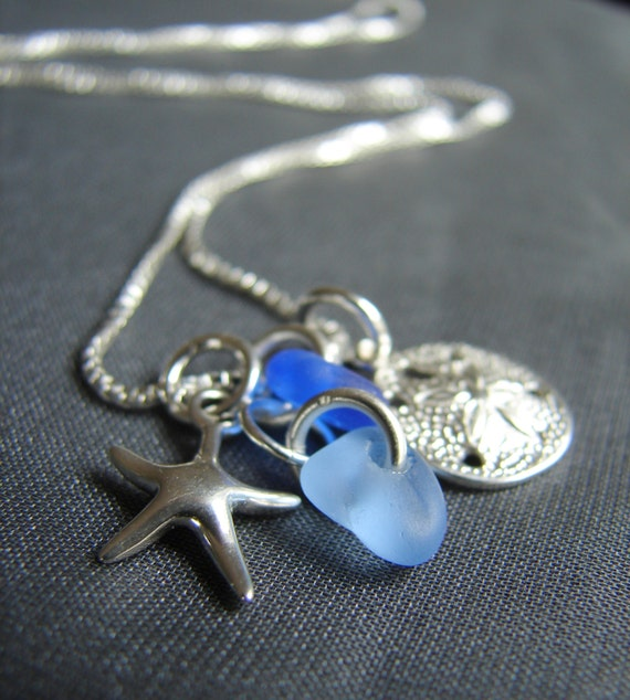 Ocean sea glass cluster necklace