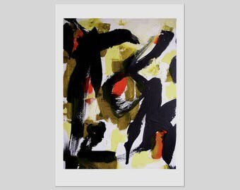 Print from abstract painting, small, bold abstract, vermilion red, yellow olive black on A3, A4, A5 or A6