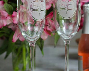 CUSTOM CHAMPAGNE glass//Bridesmaid/Maid/Matron of Honor/Bridesman//ETCHED champagne glass
