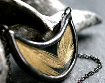 gold feather necklace modern boho real feather jewelry crescent pendant stained glass necklace real feather necklace GOLD FEATHER CRESCENT