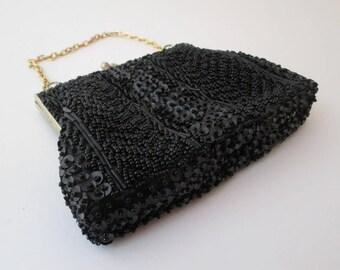 Vintage Black Bead Bag, 1960s evening bag, black beaded purse, sequin bag, black evening bag, formal bag, small black purse, small black bag