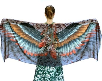 Feather Wings Scarf, Halloween Scarf, Fall Scarf, Bohemian Style, Hand Painted Art, Soft Scarf, Halloween Accessories, Colorful Scarf