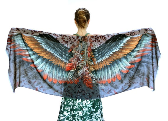 Feather Wings Scarf, Winter Scarf, Womens Gift, Fall Scarf, Bohemian Style, Hand Painted Art, Soft Scarf, Colorful Scarf, Autumn Scarf