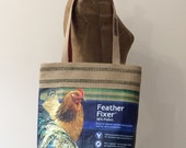 Upcycled Chicken Feed Tote with Natural Jute Webbing Trim, Made in Maine
