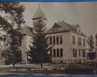 RPPC High School Whitehall Wisconsin Used 1950s Black and White Postcard