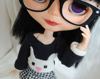 Blyte retro glasses black & white star design