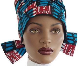 Nabru Turban Hat™ Cotton Turban Tie Wrap  Blue Red Black African Print Cotton Turban Hat Satin Lined Head Turban Handmade