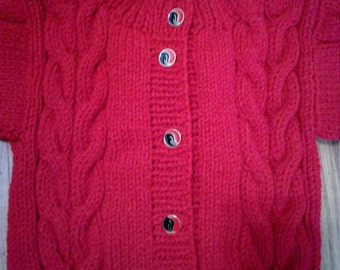 Unisex Double Cable Cardigan on front and back, Cherry Red color Size 2T