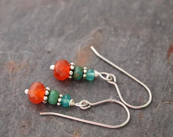 Green Quartz, Turquoise and Fire Agate Earrings