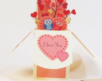 Valentine's Day Pop Up Card - Owl Love You - Love Birds Tree - Gift Card Holder - Custom Personalized Card - Handmade in USA