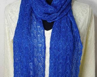 Alpaca Scarf, Handmade Alpaca Scarf,  100% Suri Alpaca Scarf, Knit Lace Scarf, Homegrown Suri Alpaca, Scarf, Hand Dyed Sapphire Blue
