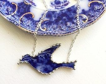 Broken china jewelry - antique flow blue roses - broken china bird in flight,  broken china jewelry necklace