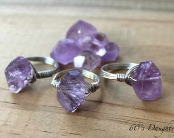 Faceted Amethyst Wire Wrap Ring // Faceted Gemstone Ring // Custom Made For You