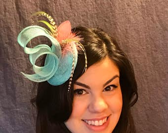Light Turquoise Fascinator with Feathers/English Inspired Blue Fascinator/Turquoise Hat/Hand formed Turquoise Hat/Lady's Fascinator/