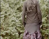 Skirt - Steampunk - Burning Man - Bohemian - Playa Wear - Bustle Skirt - Gypsy - Sexy - Purple Roses Taffeta - Knee Length - Size Medium