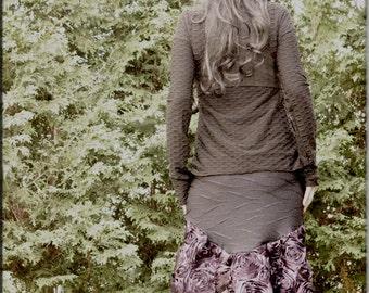 Skirt - Steampunk - Burning Man - Bohemian - Playa Wear - Bustle Skirt - Gypsy - Sexy - Purple Roses Taffeta - Knee Length - Size Large