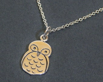 Owl Charm Necklace Sterling Silver Pendant Necklace Wisdom Owl
