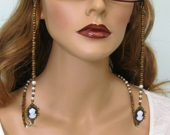 Eyeglass Chain, Cameo Necklace, Eyeglass Chains, Glasses Chain, Cameo Jewelry, Eyeglass Holder, Beaded Eyeglass Chain,Eyeglasses Chain,EH029