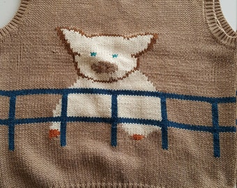 Pig Wool and Acrylic Sweater Vest- Different on each side