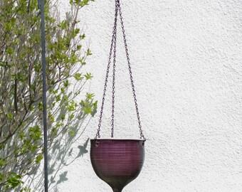 Large Hanging planter, eggplant purple home decor garden, gardener mom gift Unique Ceramic Outdoors Gardening, no cement concrete flower pot