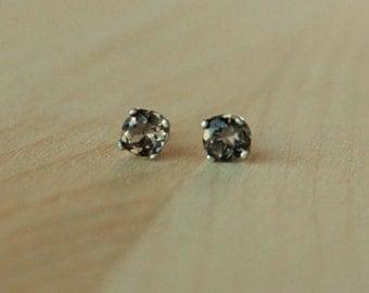 5mm Smoky Quartz Argentium Silver Earrings - Nickel Free Hypoallergenic Stud Earrings