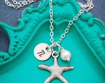 SALE • Beach Jewelry • Starfish Necklace • Silver Initial Charm • Beach Wedding Gift Bridesmaid Necklace•Beach Gift Starfish Jewelry Initial