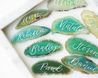 Green Agate Slice Calligraphy Place Card - escort, natural, organic wedding