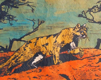 Mountain Lion Linocut