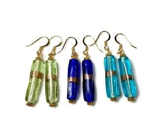 Everyday Earrings, Glass Bead Dangle Earrings, Light Green, Blue Dangle Earrings, Handmade Artisan Jewelry