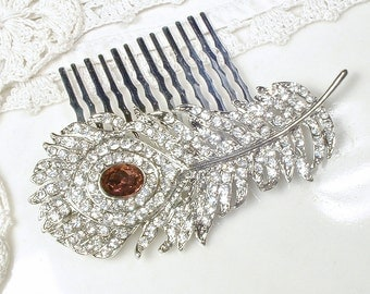 Art Deco Burgundy & Clear Rhinestone Silver Bridal Hair Comb, 1920s Wedding Pave Feather Brooch to Hairpiece, Downton Abbey Wine Hair Clip