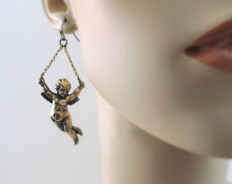 Vintage Earrings - Angel Earrings - Brass jewelry - Chain Earrings - Angel Jewelry - handmade jewelry