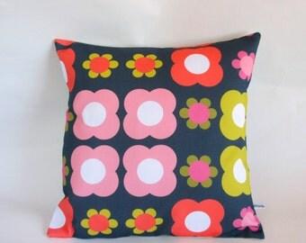 Retro Mod Flower cushion Cover in Dark Grey Pink Mustard Orange