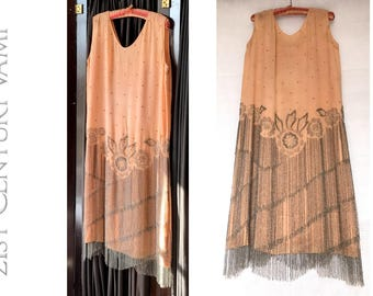 "1920s Beaded Flapper Dress in Peach and Silver. Flowers and Fringe. 40 inch bust. Sold ""As Is""."