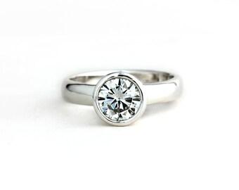 Low Profile Moissanite Ring - Sterling Silver 14k Yellow, Rose Gold 14k Palladium White Gold 950 Palladium - Engagement Wedding Promise Ring