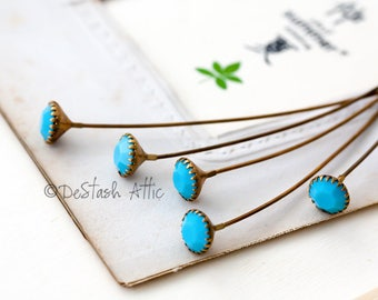 Vintage Frame Set Turquoise Blue Crystal Glass Faceted Rhinestones on Brass Wires Double Headpins