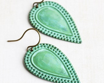 Patina Drop Earrings, Green Dangle Earrings on Antiqued Brass Hooks, Teardrop Earrings, Hand Patina Jewelry, Boho Style