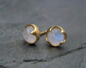 Moonstone studs, rose cut jewelry, rainbow moonstone, blue flash, faceted moonstone,  gold studs, thorn prongs, multi color studs, handmade